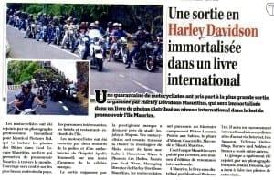 Harley Davidson in Mauritian newspaper